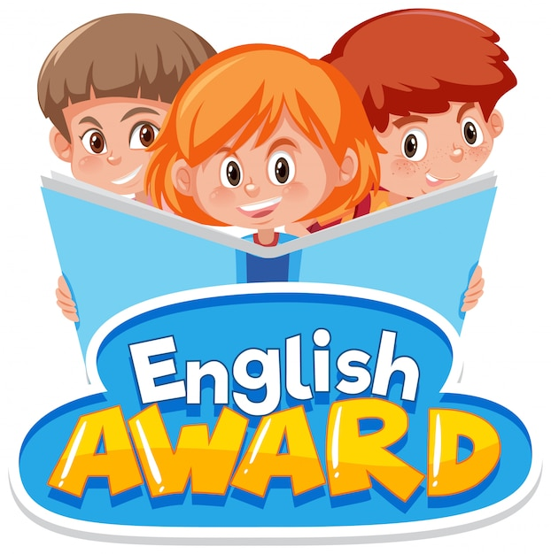 Projeto de fonte para o prêmio de inglês com três crianças lendo um livro grande Vetor Premium