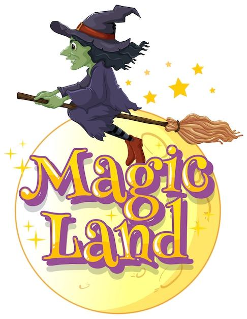 Projeto de fonte para terra mágica de palavra com bruxa voando Vetor grátis