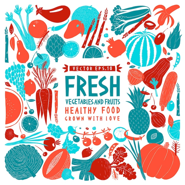 Projeto de frutas legumes desenhos animados mão desenhada. fundo de alimentos. estilo linogravura. comida saudável. Vetor Premium