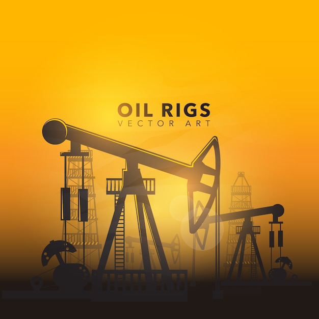 Projeto de fundo de plataformas petrolíferas Vetor Premium