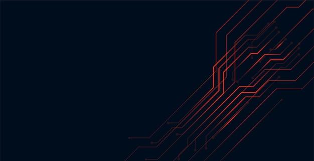 Projeto de fundo de tecnologia de linhas de circuito vermelho digital Vetor grátis