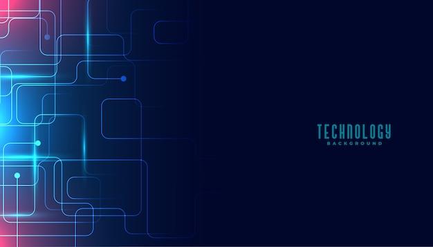 Projeto de fundo digital de linhas de circuito de tecnologia Vetor grátis