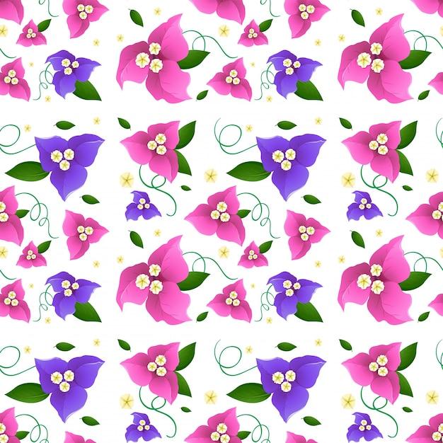 Projeto de fundo sem costura com flores de buganvílias Vetor Premium