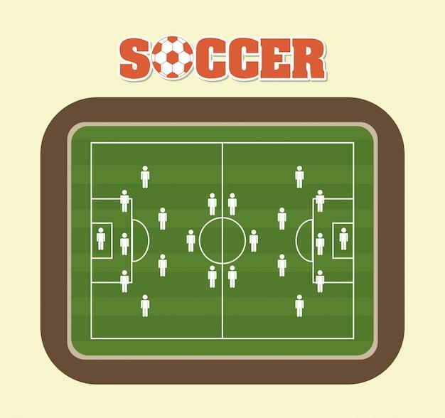 Projeto de futebol sobre ilustração vetorial de fundo creme Vetor Premium