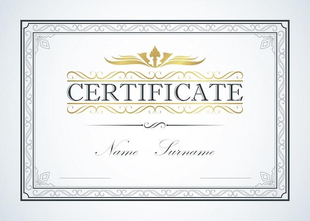 Projeto de guia de modelo de quadro de fronteira de certificado. certificação de luxo vintage retrô Vetor Premium