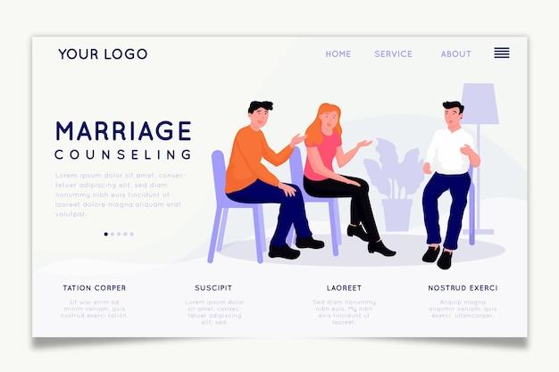 Projeto de homepage de aconselhamento matrimonial Vetor grátis