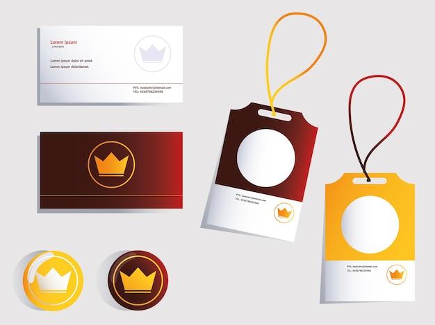 Projeto de identidade visual corporativa em ilustração de fundo branco Vetor Premium