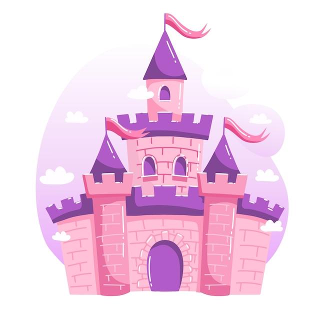 Projeto de ilustração com castelo Vetor Premium