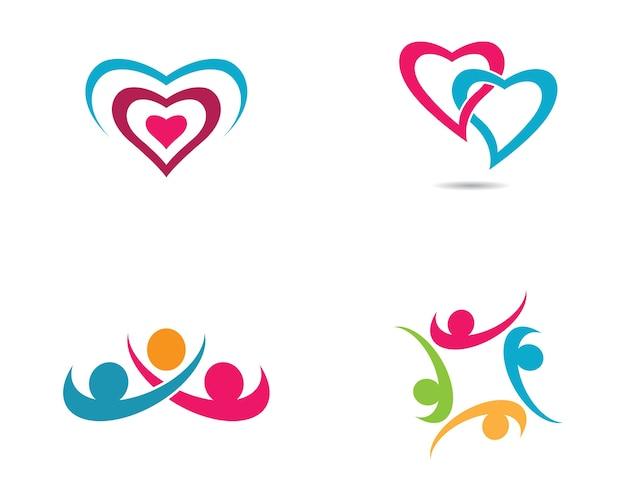 Projeto de ilustração de símbolo de cuidados comunitários Vetor Premium
