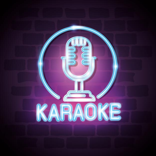 Projeto de ilustração de vetor de rótulo de néon de bar de karaoke Vetor Premium