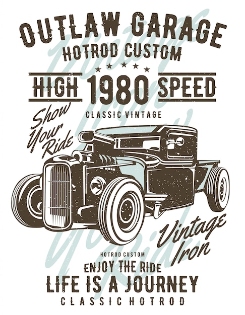 Projeto de ilustração garagem outlaw Vetor Premium