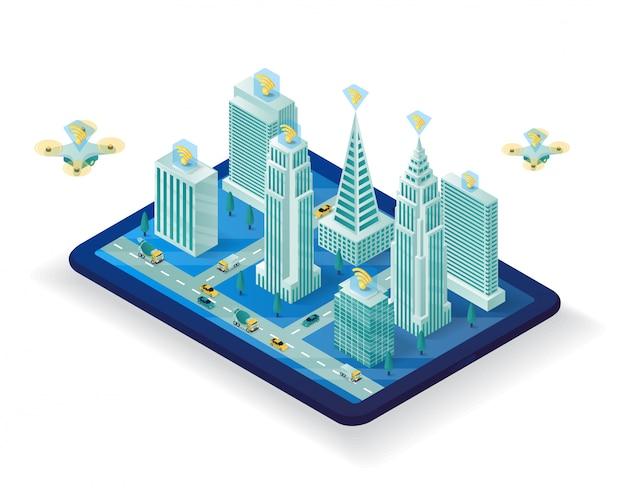 Projeto de ilustração isométrica cidade inteligente Vetor Premium