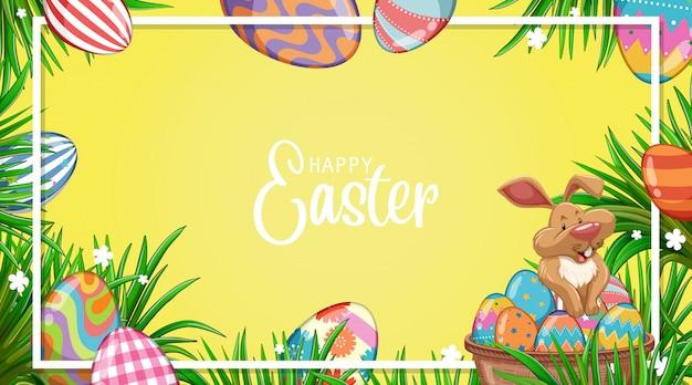 Projeto de ilustração para a páscoa com coelho e ovos pintados no jardim Vetor grátis