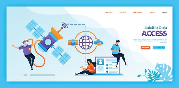 Projeto de ilustração plana de acesso a dados de satélite. Vetor Premium