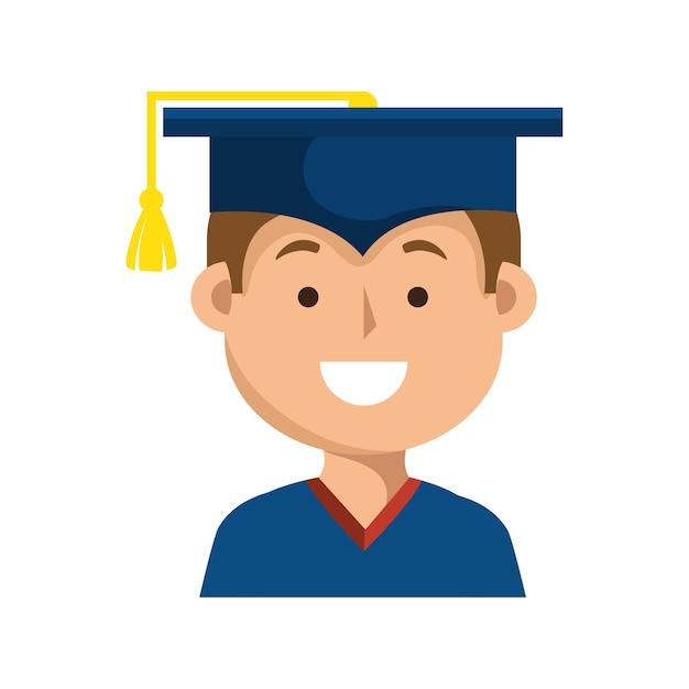 Projeto de ilustração uniforme do estudante graduação ícone vector Vetor Premium