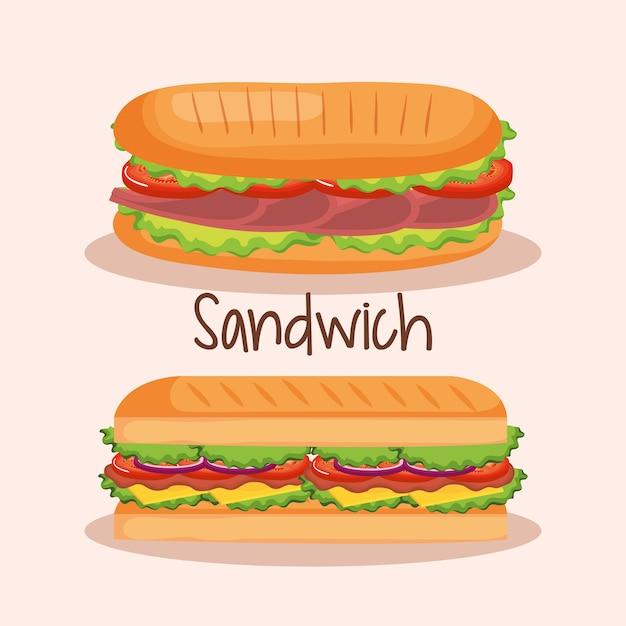 Projeto de ilustração vetorial sanduíche delicioso fast-food Vetor Premium