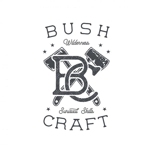 Projeto de impressão de aventuras de floresta com machados e frase - artesanato de bush, habilidades de sobrevivência na região selvagem. Vetor Premium