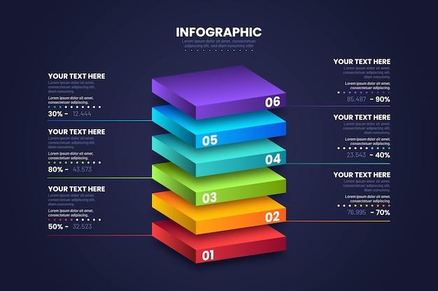 Projeto de infográfico de camadas de bloco 3d Vetor grátis