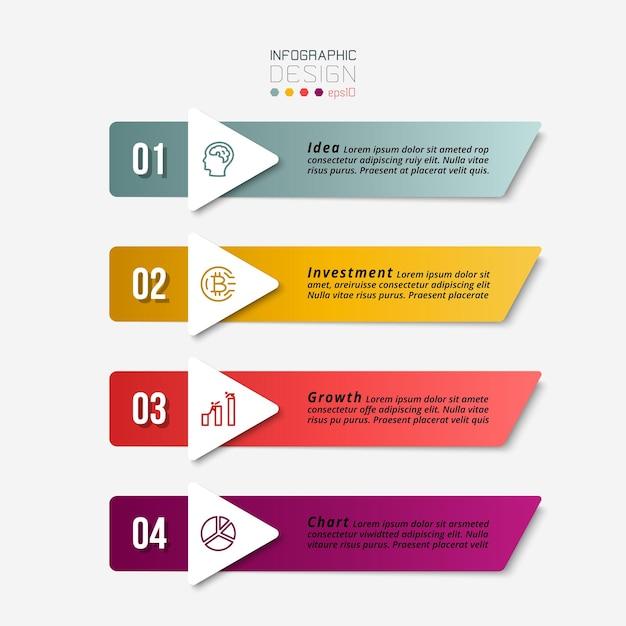 Projeto de infográfico de negócios com 4 etapas. Vetor Premium