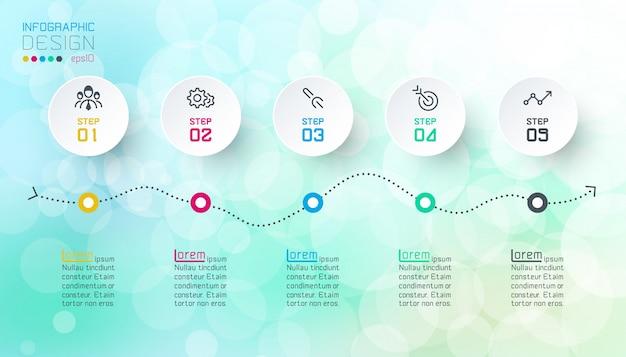 Projeto de infographics no fundo abstrato do bokeh. Vetor Premium