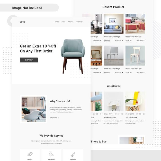 Projeto de interface do usuário de madeira de venda de mercado de madeira Vetor Premium