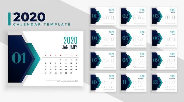 Projeto de layout de calendário moderno geométrico 2020 ano novo Vetor grátis
