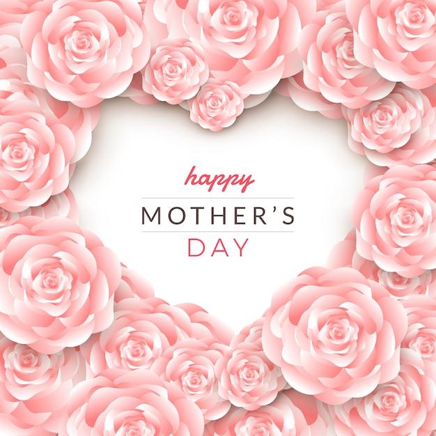 Projeto de layout de cartão de feliz dia das mães com rosas Vetor Premium