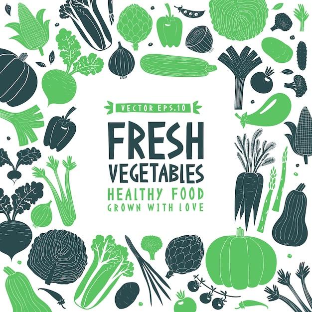 Projeto de legumes desenhado mão dos desenhos animados. estilo linogravura. comida saudável. ilustração vetorial Vetor Premium