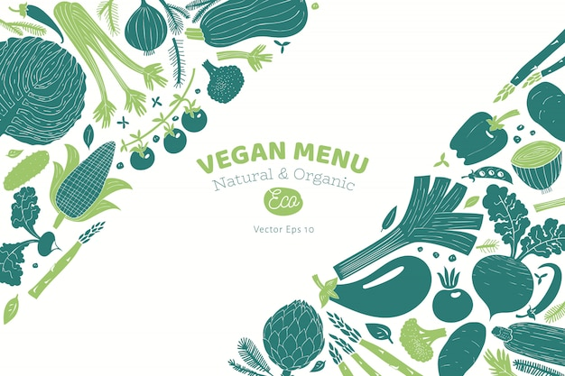 Projeto de legumes desenhado mão dos desenhos animados. gráfico monocromático. estilo linogravura. comida saudável. ilustração vetorial Vetor Premium