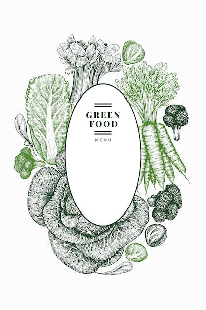 Projeto de legumes esboço mão desenhada. Vetor Premium