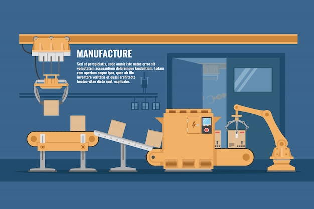 Projeto de linha de montagem automatizada com sistema de transporte de cor amarela em ilustração vetorial de oficina azul Vetor grátis
