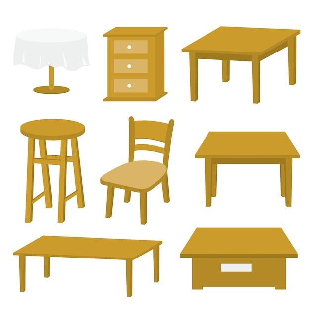 Projeto de madeira do vetor da mobília da cadeira de tabela Vetor Premium