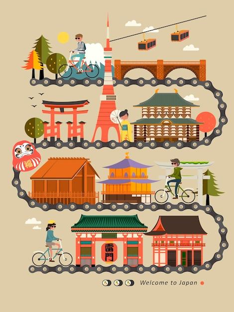 Projeto de mapa de viagem de bicicleta no japão com atrações Vetor Premium