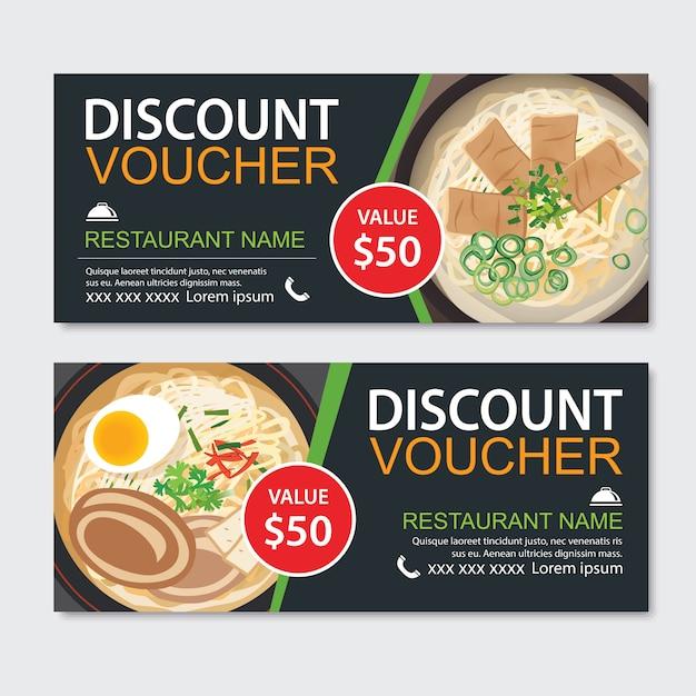 Projeto de modelo de comida asiática de voucher de presente de desconto. conjunto de macarrão Vetor Premium