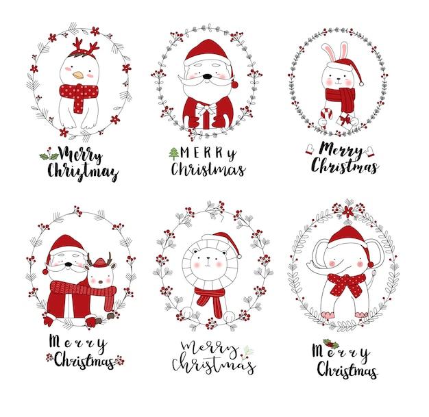 Projeto de natal com estilo desenhado de mão animal bonito dos desenhos animados Vetor Premium