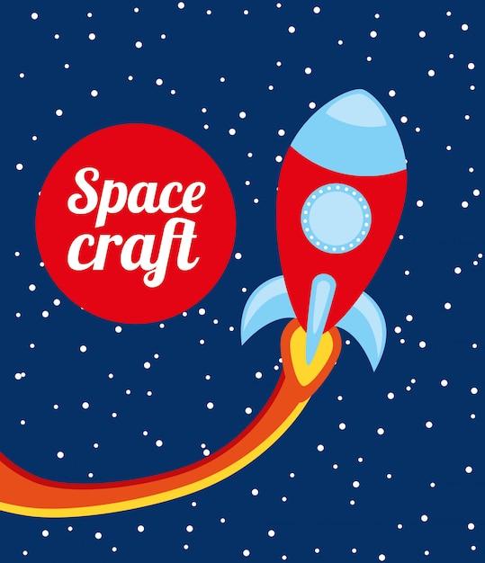 Projeto de nave espacial sobre ilustração em vetor fundo noite Vetor Premium