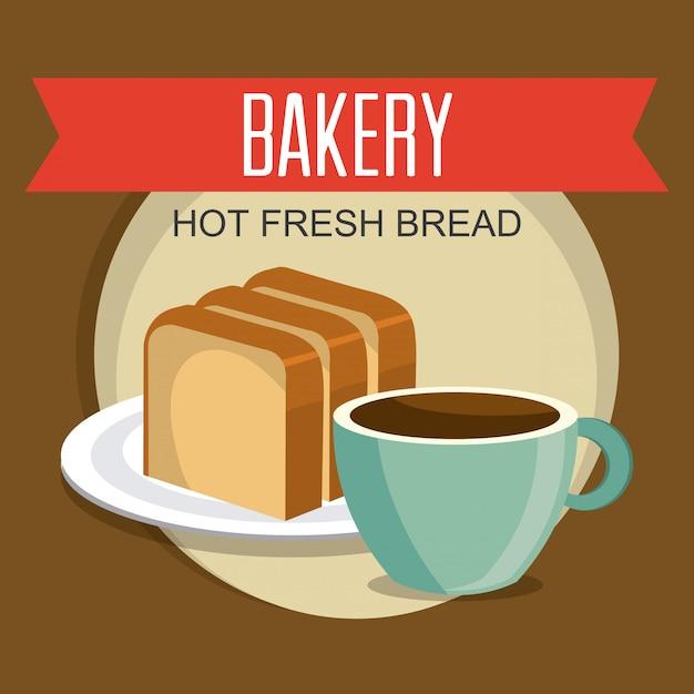 Projeto de padaria, sobremesa e barra de leite. Vetor grátis