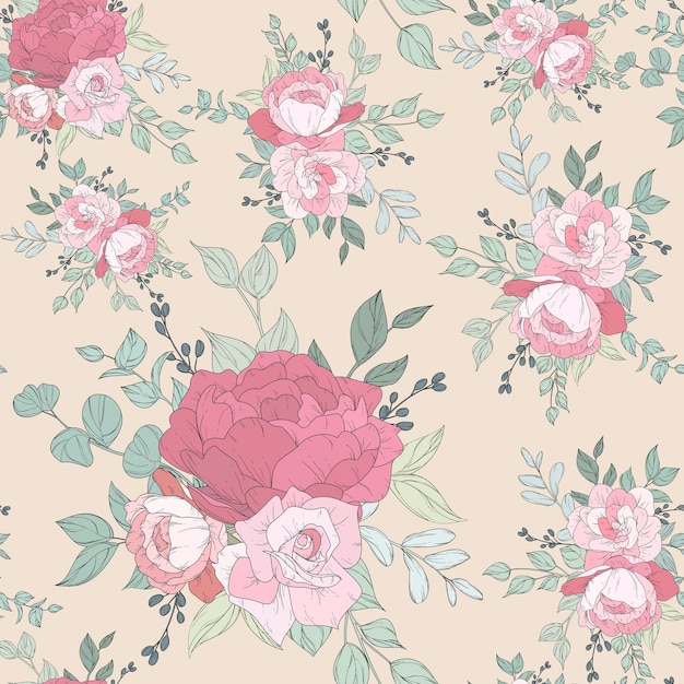 Projeto de padrão sem emenda com lindos florais Vetor grátis