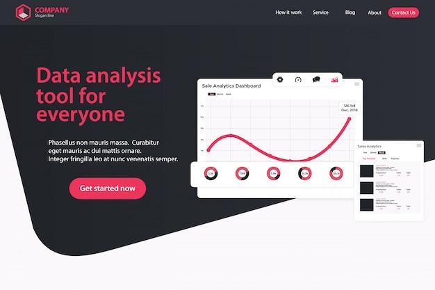 Projeto de página de design de web design de página de destino Vetor Premium