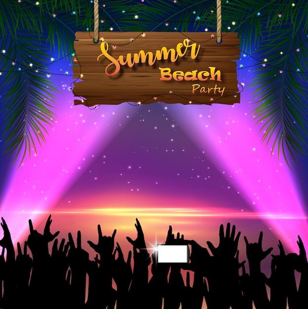 Projeto de panfleto de festa de praia de verão Vetor Premium
