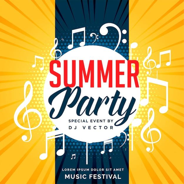 Projeto de panfleto de festa de verão com notas musicais Vetor grátis