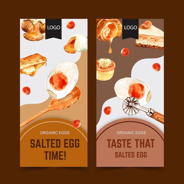 Projeto de panfleto de ovo salgado com bolo, colher, ilustração de aquarela de pão recheado. Vetor grátis