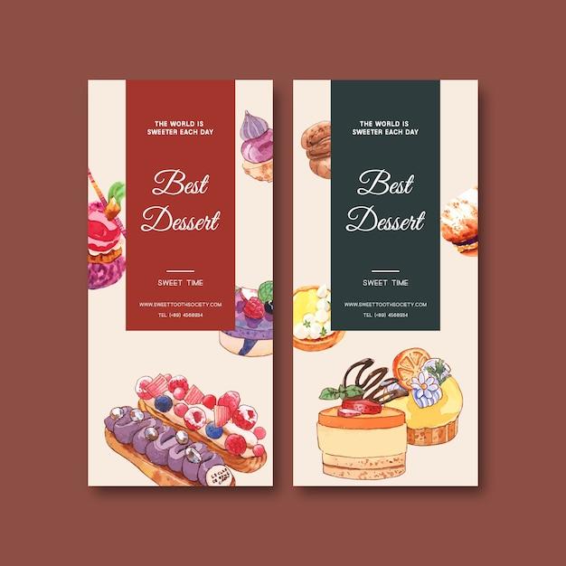 Projeto de panfleto de sobremesa com cupcake, biscoito, aquarela torta bolo ilustração isolada. Vetor grátis