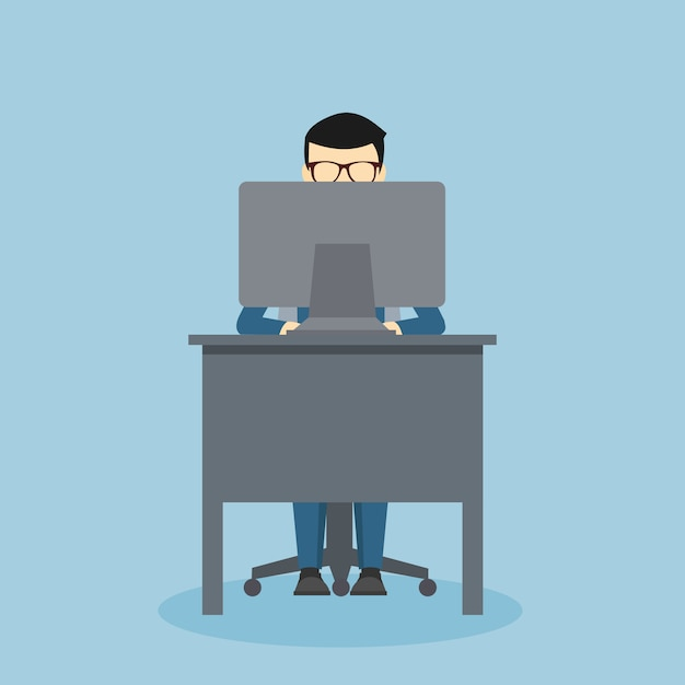 Projeto de pessoa em uma mesa na frente do seu computador Vetor Premium