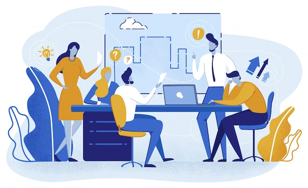 Projeto de planejamento de equipe, apresentação em reunião. Vetor Premium
