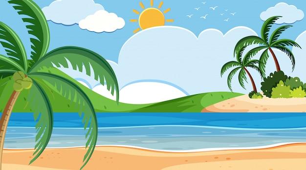 Projeto de plano de fundo da paisagem à beira-mar em dia ensolarado Vetor Premium