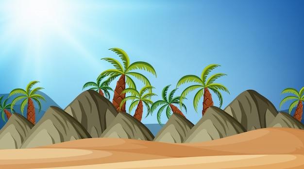 Projeto de plano de fundo da paisagem de praia e montanhas Vetor Premium