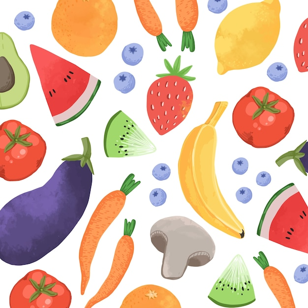 Projeto de plano de fundo de frutas e legumes Vetor grátis