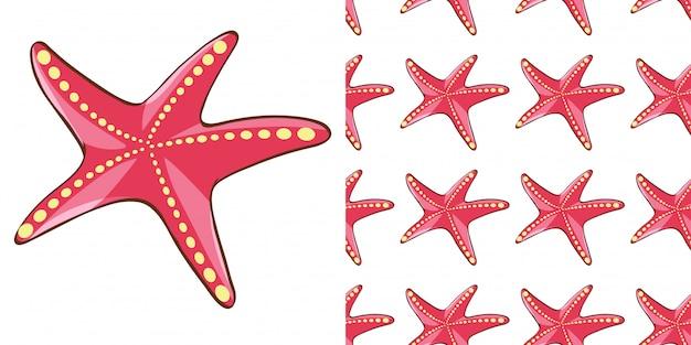 Projeto de plano de fundo sem emenda com estrela do mar vermelha Vetor grátis