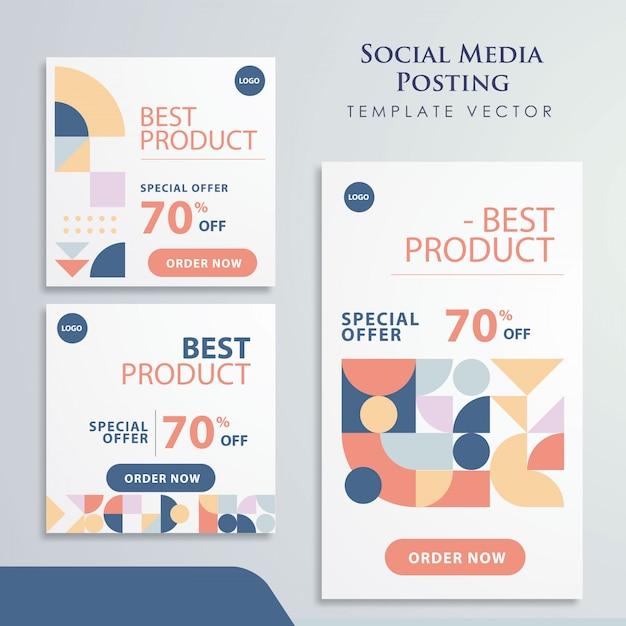 Projeto de promoção de mídia social de elemento retrô Vetor Premium